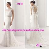 Lacet de mode de réalisation Nice perlant la robe de mariage avec l'encolure ronde