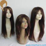 """18 """"Mogolian Virgen de pelo humano de seda Top4"""" X4 """"Lace frente peluca para las mujeres"""