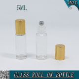 5ml Clear Cosmetic Roll on Glass Bottle with Gold Metal Lid