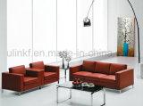 Il sofà di legno del salone domestico di cuoio moderno del sofà imposta (UL-NS023)