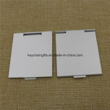 Espejo compacto Pocket de aluminio plegable cuadrado con insignia de encargo