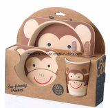 Eco freundliche 5 Stücke Kind-Bambusfaser-Essgeschirr-Set-