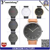 Servicio caliente del OEM del reloj de la voga de la venta del cuarzo de la venda del cuero del reloj de señoras de la manera Yxl-452 2016