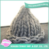 Nette warme klumpige Garn-Wolle-Winterbeanie-Hüte für Frauen