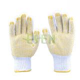 Gants en coton blanc en coton tricoté Gants de travail PVC DOT