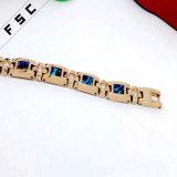 Pulsera coloreada cristalina de gama alta de las mujeres del acero inoxidable del oro de Rose