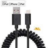 3.3FT 1m Spring Coiled Lightning USB Cable Sync Charging pour iPhone 7