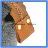 Saco de mão portátil Eco-Friendly da compra de feltro de lãs do projeto simples, saco personalizado do punho do Tote das senhoras com o punho confortável de couro do plutônio