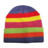 세로줄 뜨개질을 하는 플랜지를 붙이는 모자 (JRK079)