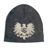 Chapéu feito malha cinzento com impressão fresca (JRK163)