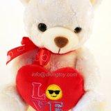 Ours de nounours du jour de trois Valentine de couleur avec le jouet de peluche de coeur d'Emoji