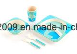 Kundenspezifisches faser-Abendessen-Set des Entwurfs-BPA frei Bambusfür Kinder, netter Karton-Entwurf, großer Teller