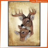 Peinture à l'huile animale fabriquée à la main encadrée de cerfs communs de peinture