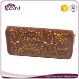Monedero de cuero hecho a mano de las nuevas mujeres, carpeta de cuero de Brown del diseñador de la alta calidad