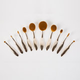 10PCS Custom Gold Color Oval Cosmetic Brush Set mit Flugschreiber