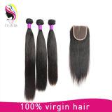 Fechamento brasileiro 4*4 do cabelo reto do Virgin por atacado de 100%