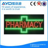 Signe lumineux élevé de la pharmacie DEL de rectangle de Hidly