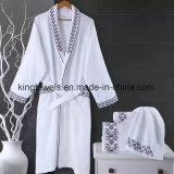 Peignoir 100%/robes longues d'hôtel de gaufre de coton