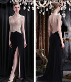 Beadling Slim Fitting Chiffon Split Cocktail Evening Prom Robe de fête
