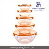 Jogo da bacia de vidro da alta qualidade 5PCS com tampa plástica GB1401