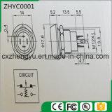 interruptor de pulsador del metal de 12m m con la pista plana y la función momentánea