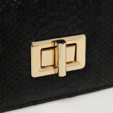 Sac à main design noir PU Serpentine Metal Buckle (A015)