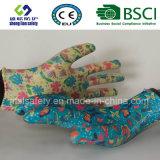 Перчатка безопасности перчатки сада нитрила Coated