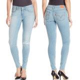 2017 кальсон голубых джинсов джинсовой ткани джинсыов способа женщин весны тощих