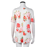 Тенниска женщин способа напечатанная цветком свободная одевает кофточку
