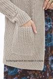 Длинний чисто цвет выдалбливает вне длинней связанный втулкой кардиган свитера (W18-228)