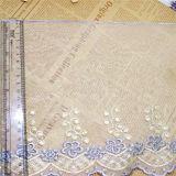 Merletto netto di nylon della maglia di immaginazione della guarnizione del ricamo del poliestere del merletto del commercio all'ingrosso 21.5cm della fabbrica del ricamo di riserva di larghezza per l'accessorio degli indumenti & i &Curtains domestici delle tessile