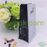 ジッパーおよび弁が付いている白い平底のコーヒーバッグ
