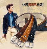 上の穀物の革靴の本革ベルト人のための編みこみのパターンベルト