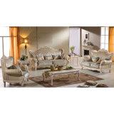 Sofà di cuoio con il blocco per grafici del sofà e la Tabella di legno del lato (508)