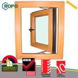 Guichet en verre de double tissu pour rideaux en plastique de la couleur UPVC/PVC de fibre de bois