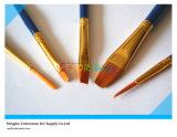 cepillo de nylon del artista del pelo de la manija de madera 5PCS en el bolso del PVC para la pintura y el dibujo (color azul)