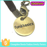Custom Metal Gold Gravado Jóias Logo Tag Charm for Bracelet