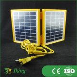Pequeño plegable del panel solar 3.4W 9V con marco de plástico amarillo para cargar el teléfono celular