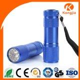 Электрофонарь света 9 СИД карманн цвета выдвиженческого подарка непредвиденный малый алюминиевый миниый UV