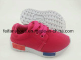 純粋なカラー男女兼用の子供のキャンバスの注入の靴は、ひもで締めるPVC Outsole (FFST-002)が付いているスポーツの靴を