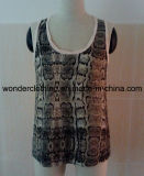Plain Kint Fabric Fashion Lady Tank Top를 가진 Fabric 인쇄