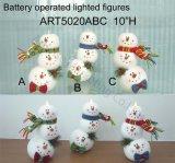 Boneco de neve acima iluminado do Marshmallow, 3 luzes do Asst-Natal