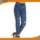 OEMの方法女性のデニムの青い裂かれた細いジーンのズボン