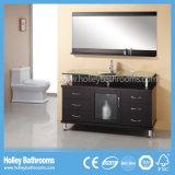 La vanità del bagno con metallo paga e due bacini del contatore della lastra di vetro (BV157W)