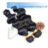 インドの緩い波の人間の毛髪のよこ糸