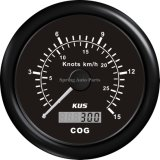 Qualité 85mm Black/encadrement GPS Speedometer Velometer 15 Knots de White Stainless Steel pour Marine