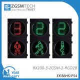 2개의 양상 보행자 교통량 빛 카운트다운 타이머를 가진 빨간 정지 남자 녹색 걷는 남자