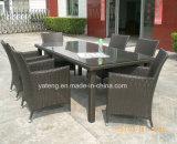 Il giardino esterno della mobilia del Pe-Rattan di disegno di Glassic che pranza il ristorante stabilito ha impostato con la presidenza e la Tabella (YT100) 4-10person Using