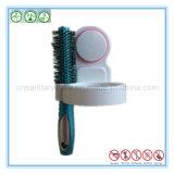 Cremalheira fixada na parede do organizador do suporte do secador de cabelo com copo da sução
