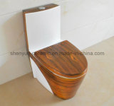 Keramische Toiletten-einteilige WC-hölzerne Beschaffenheits-Farben-Toilette (A-007S)
